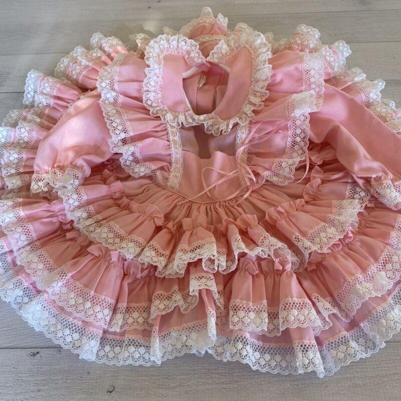 Vintage Kids Avenue Full Circle Ruffle Pageant Dress Lace Pink Size 1 USA