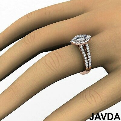 Halo Split Shank French Pave Marquise Diamond Engagement Ring GIA H VVS2 1.75Ct 11