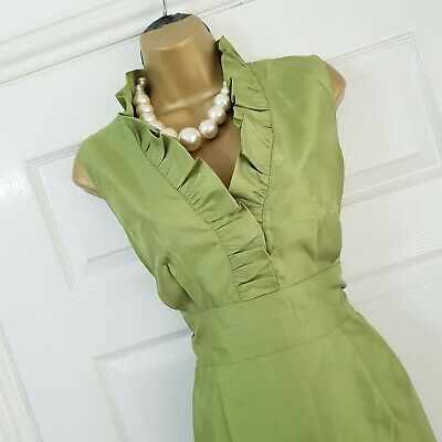 Jessica Howard Dress Size 12 Lime Green Ruffle Holiday Cruise Wedding Occasion