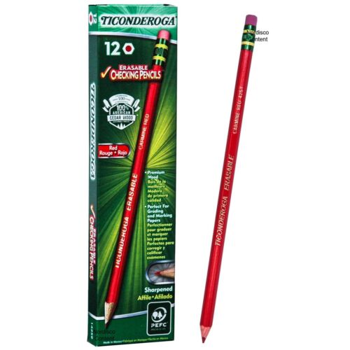 Ticonderoga Erasable Carmine Red 425T 14259 Checking Pencils