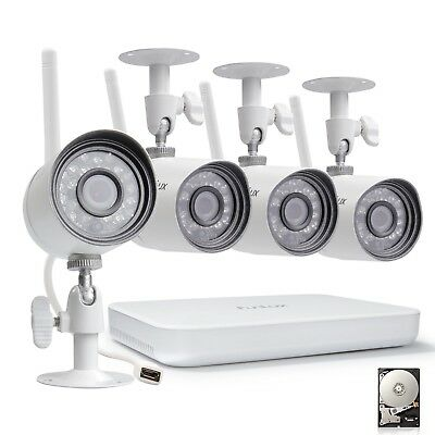 Funlux 1080p 4CH NVR 720p WiFi Outdoor IR-Cut Home Security Camera System 500GB