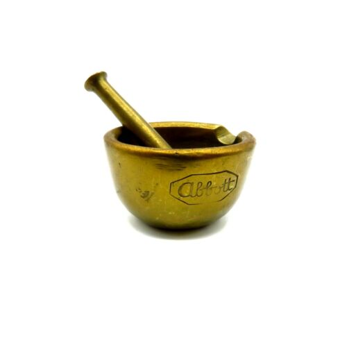 Antique Small Abbott Brass Mortar and Pestle Apothecary Pharmacy 2 Inch Diam