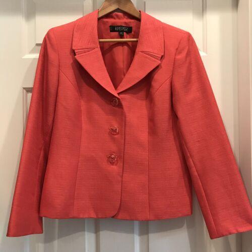Kasper Skirt Suit Size 12P Coral Orange Two Piece