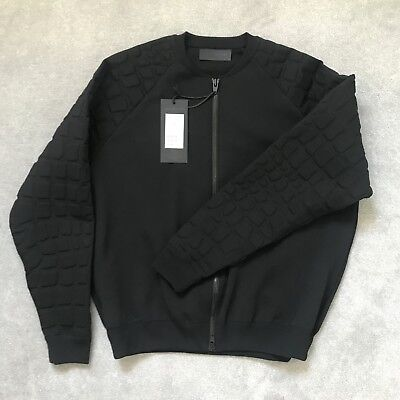 Alexander wang X H&M Men Black Neoprene Bomber Zip Coat Jacket Cardigan Large L