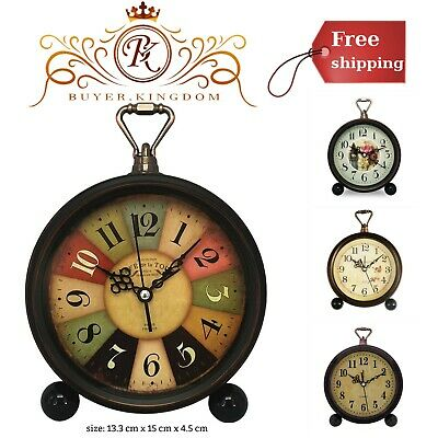Retro Desk Clock With Non-Ticking And Vintage Design And 13.3cm X 1cm X 4.5 (Best Alarm Clocks)