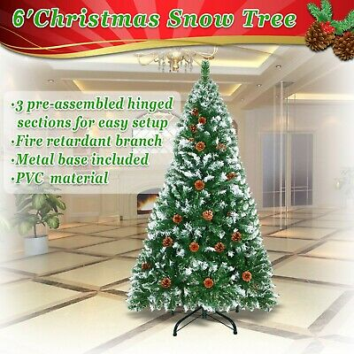 Artificial Christmas Tree 6ft Spruce w Metal Stand Folding Realistic 750tip Pine ()