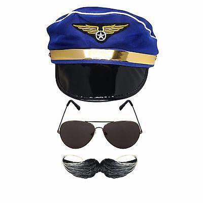 Kids Airline Pilot Kostüme (Novelty Kids Adults Airforce Pilot Airline Captain Uniform Aviator Accessory Set)