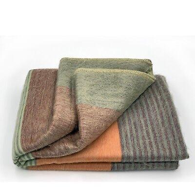 Wool Tartan Blankets (SOFT & WARM STRIPED ALPACA LLAMA WOOL BLANKET PLAID 90