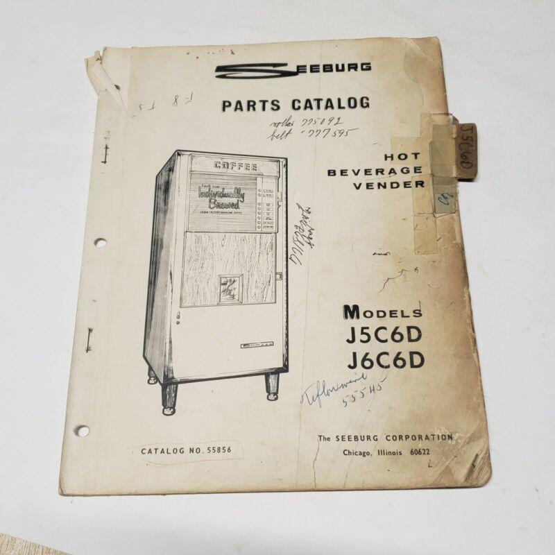 Vintage Seeburg Parts Catalog Hot Beverage Vendor Manual Model J5C6D J6C6D