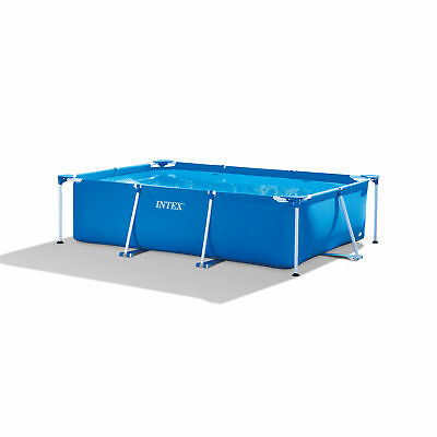 Intex 9.8ft x 6.5ft x 29.5in Rectangular Frame Above Ground Swimming Pool, Blue