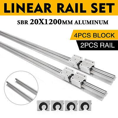 Cnc Sbr 20-1200mm 20mm Linear Slide Guide Shaft 2 Rail4sbr20uu Bearing Block