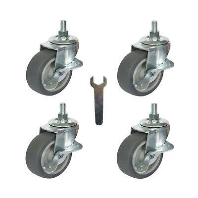 Caster Wheels Stem Casters Set Of 4 3 Inch 38-16x1 Threaded Stem Mount I...