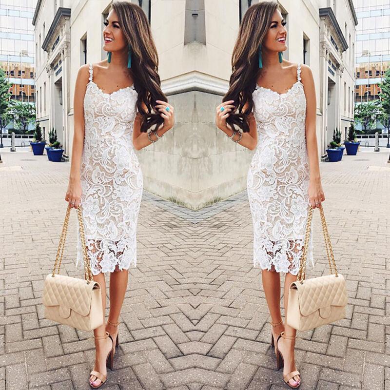 Damen Spitzenkleid Sommerkleid Abend Partykleid Cocktail Etuikleid Brautkleid 40