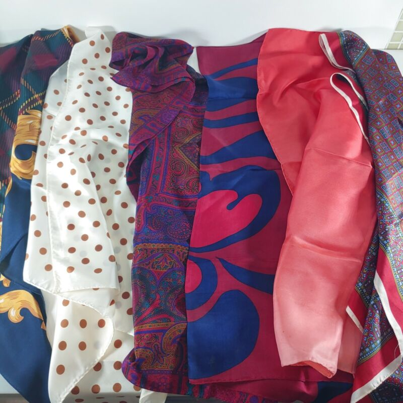 Lot of 6 Vtg 1970s Hair Scarves Neck Scarf, Tie, Wrap, Crafting Satin, Silks