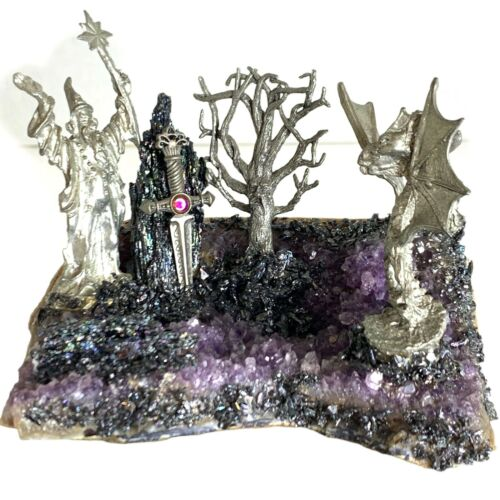 Large Purple Amethyst Geode Cluster With Pewter Wizards & Dragons Figurines