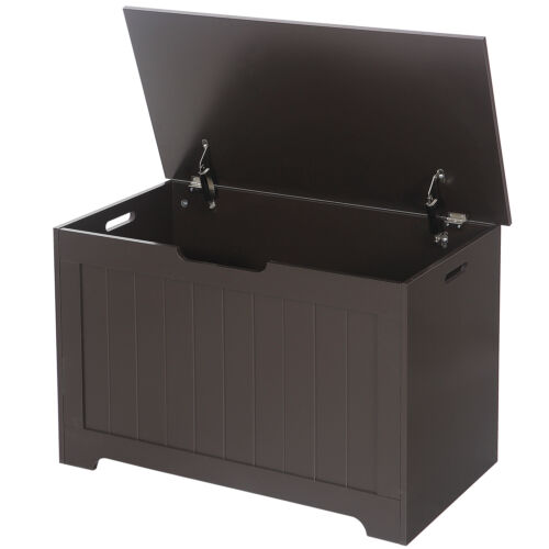 Lift Top Entryway Storage Chest/Bench with 2 Safety Hinge, Wooden Toy Box Furniture