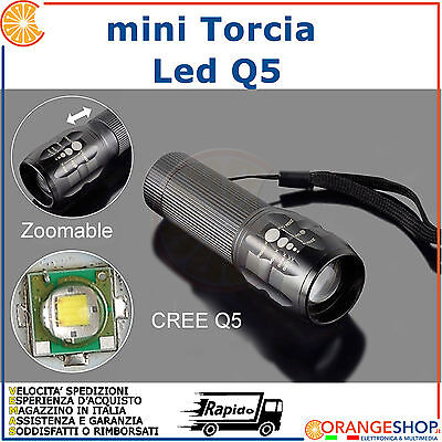 Mini Torcia LED CREE Q5 300 Lumen Resistente all'acqua 3 mode Zoom bici softair