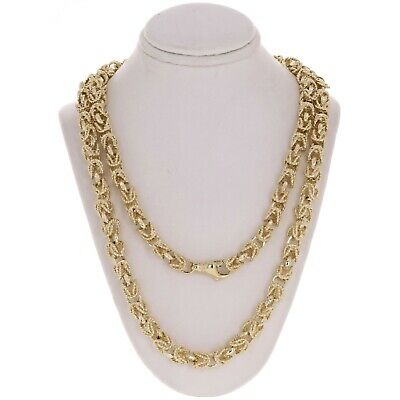 """10k Yellow Gold Turkish Link Chain Necklace 24"""" 7mm 74 grams"""