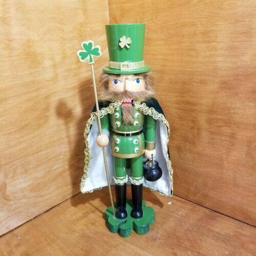"Irish Leprechaun Nutcracker with Shamrock Staff and Pot of Gold 15"""