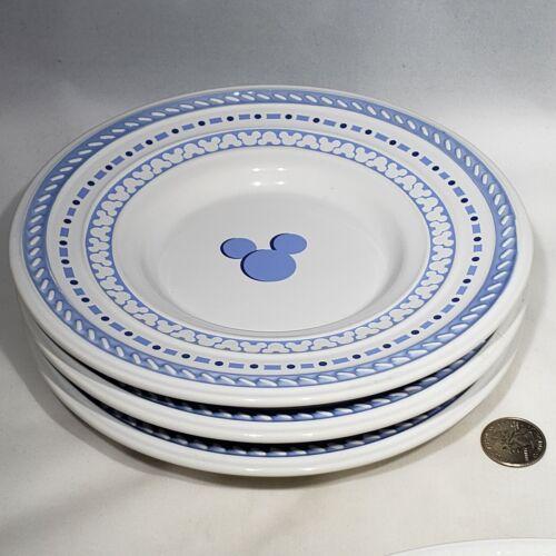 "Set of 3 Mickey Mouse Icon Gourmet Blue White 8"" Dessert Plate Walt Disney World"