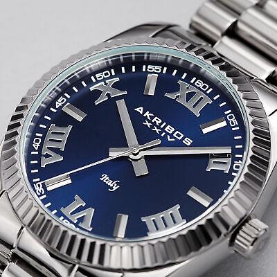 Men's Akribos XXIV AK1034SSBBU Quartz Roman Numeral Silver Stainless Steel Watch