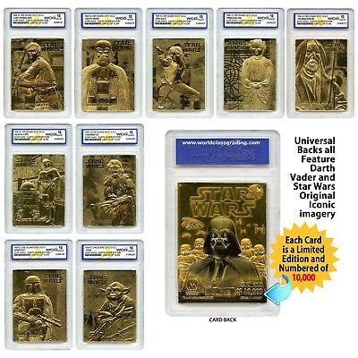 STAR WARS Set of 9 Licensed 23K Gold Cards Graded Gem-Mint 10 DARTH VADER SERIES