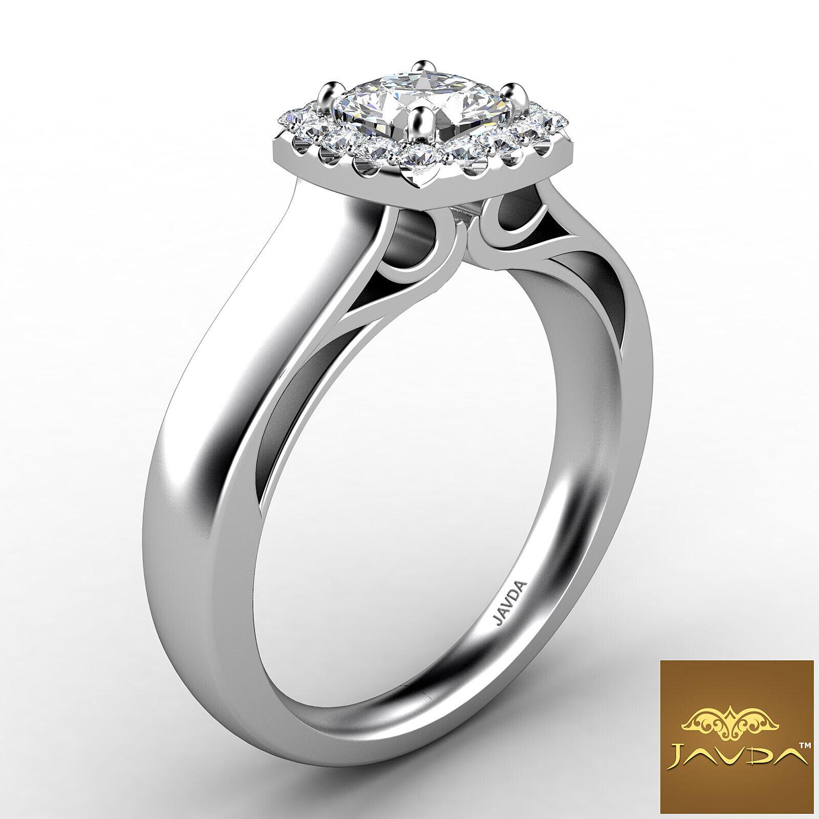 Halo Filigree Shank Prong Set Cushion Diamond Engagement Ring GIA F VS2 0.7 Ct 2