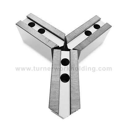"""TG-10200P STEEL POINTED SOFT JAWS FOR TONGUE /& GROOVE 10/"""" CHUCK 2/"""" HT 3 PC SET"""
