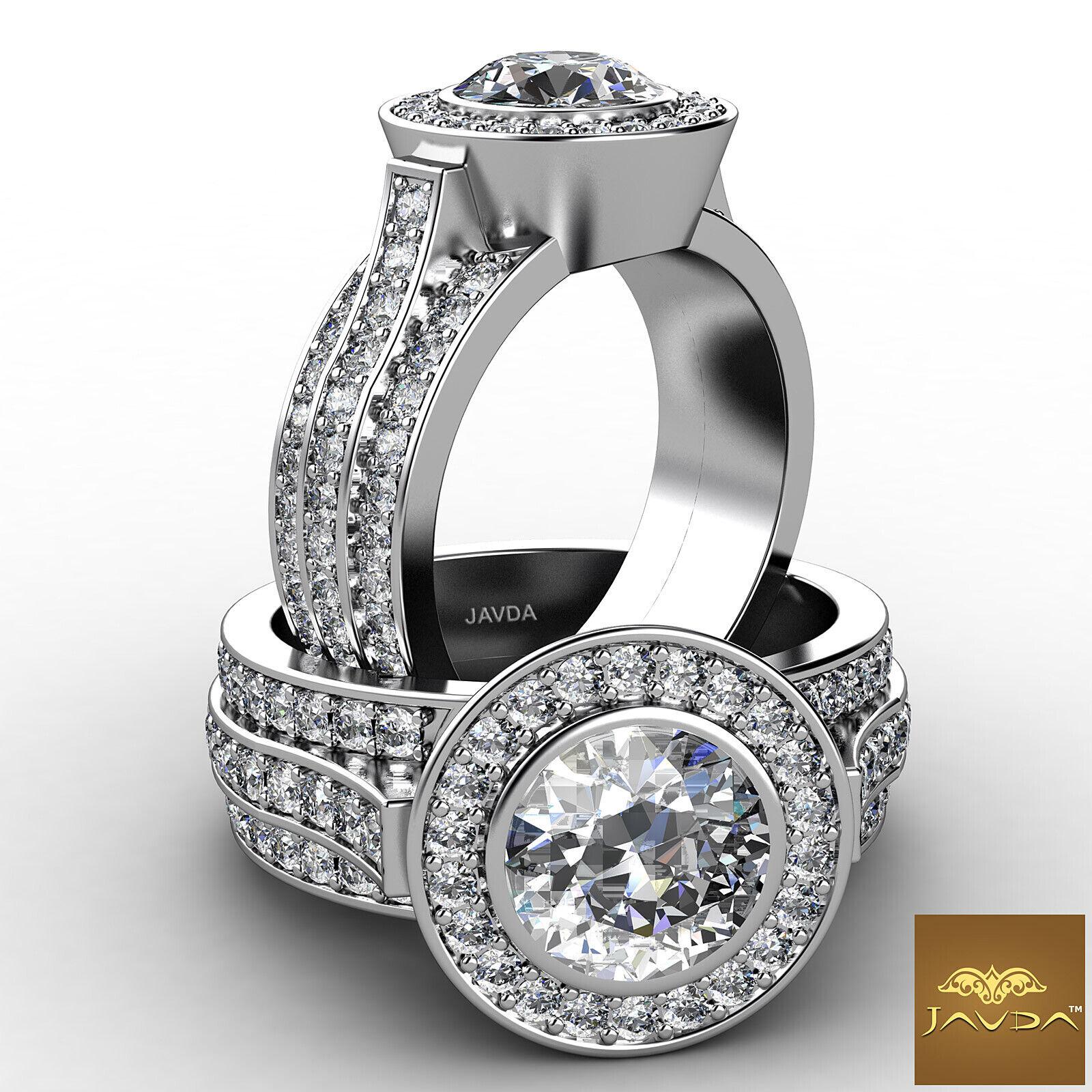 3.15ct Round Diamond Halo Pave Set Engagement Solid Ring GIA F VS2 Platinum 950
