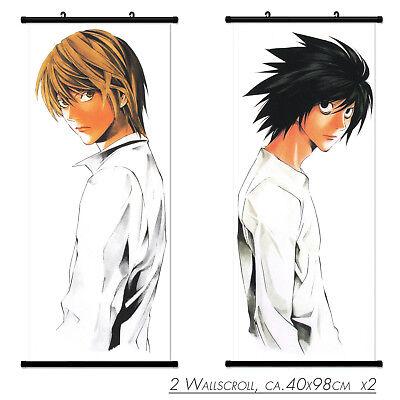 2 PC Wallscroll Death Note L Light Rollbild Kakemono Wandbild Stoff Poster  Death Note Stoff