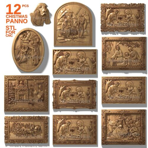 3d stl model cnc router artcam aspire panno christmass new year pack basrelief