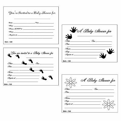 20 Baby Shower Invitations printed in black feet and hands 5X4 with envelopes