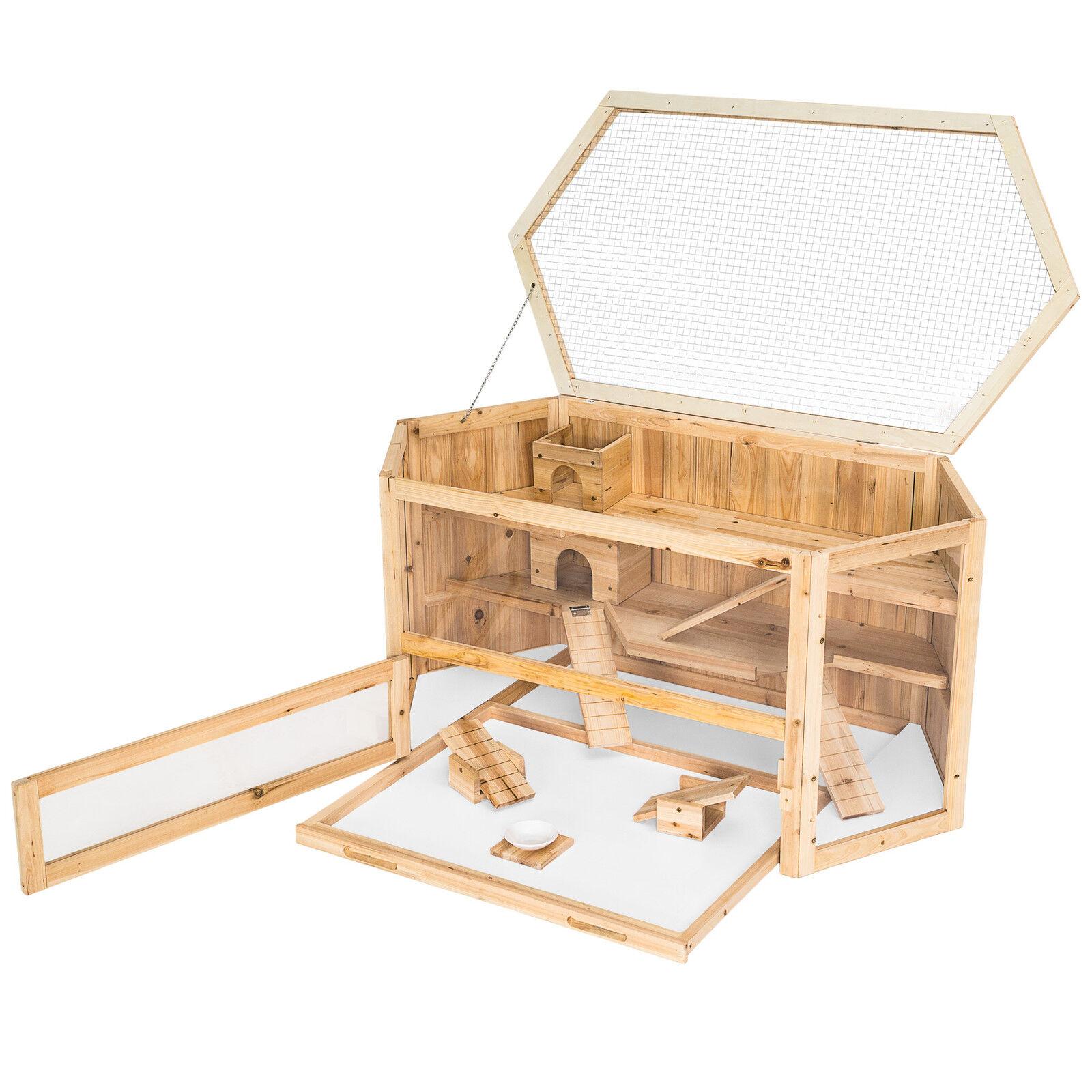 Cage XXL en bois 3 étages pour petits rongeurs animaux