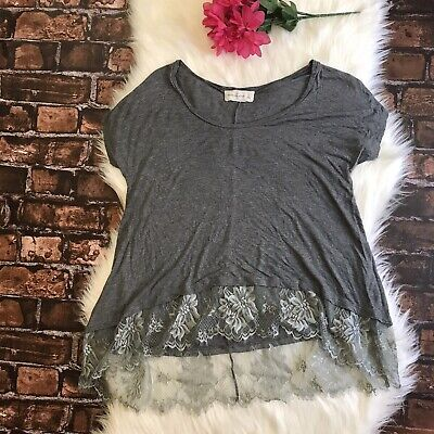 Abercrombie & Fitch Size Small Short Sleeve Gray Lightweight Lace Hem Blouse