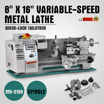 8x16 Mini Metal Lathe Variable-speed 0-2250rpm 750w Benchtop Digital Display