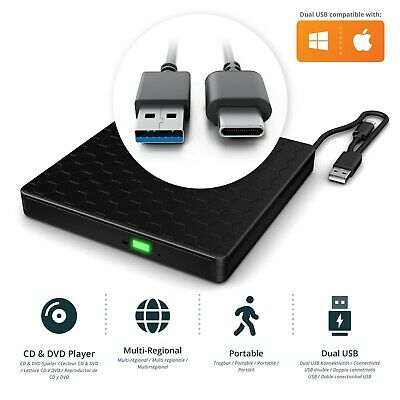 USB 3.0 USB-C External Slim Drive CD RW DVD ROM Player for Laptop, PC, Apple MAC