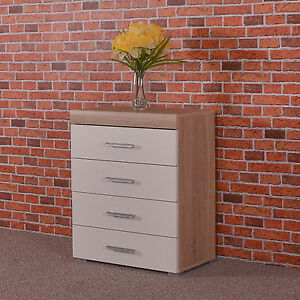 Chest Of 4 Drawers In White Sonoma Oak Effect Bedroom Furniture Modern