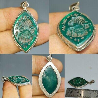 Silver beautiful pendant antique jade intaglio stone king # 145