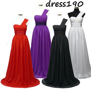 dress190-CHIFFON-ONE-SHOULDER-LONG-EVENING-WEDDING-BRIDESMAID-PROM-GOWN-DRESS-UK