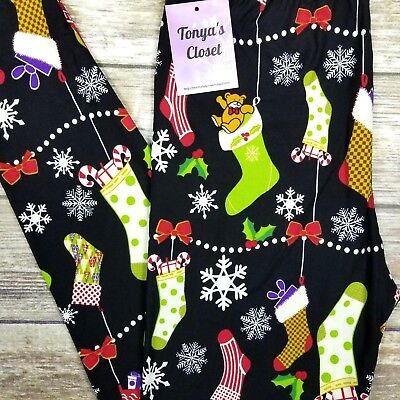 Stockings are Hung Holiday Leggings Snowflake Christmas ONE SIZE OS - Holiday Stockings