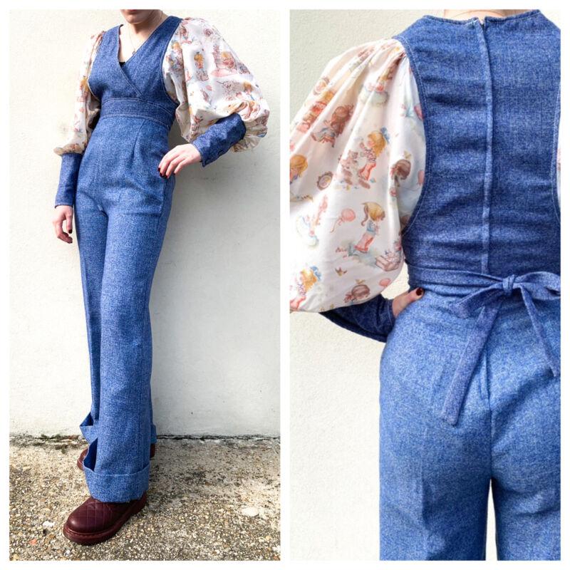 Vintage VTG 1970s 70s Blue Novelty Print Puff Sleeve Wide Leg Jumpsuit