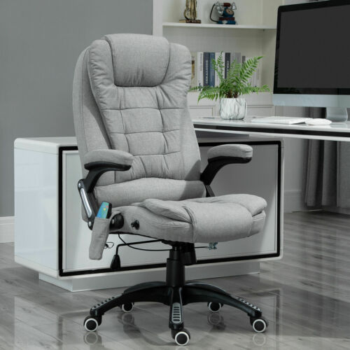 Vinsetto Office Chair w/ Heating Massage Points Relaxing Reclining Grey