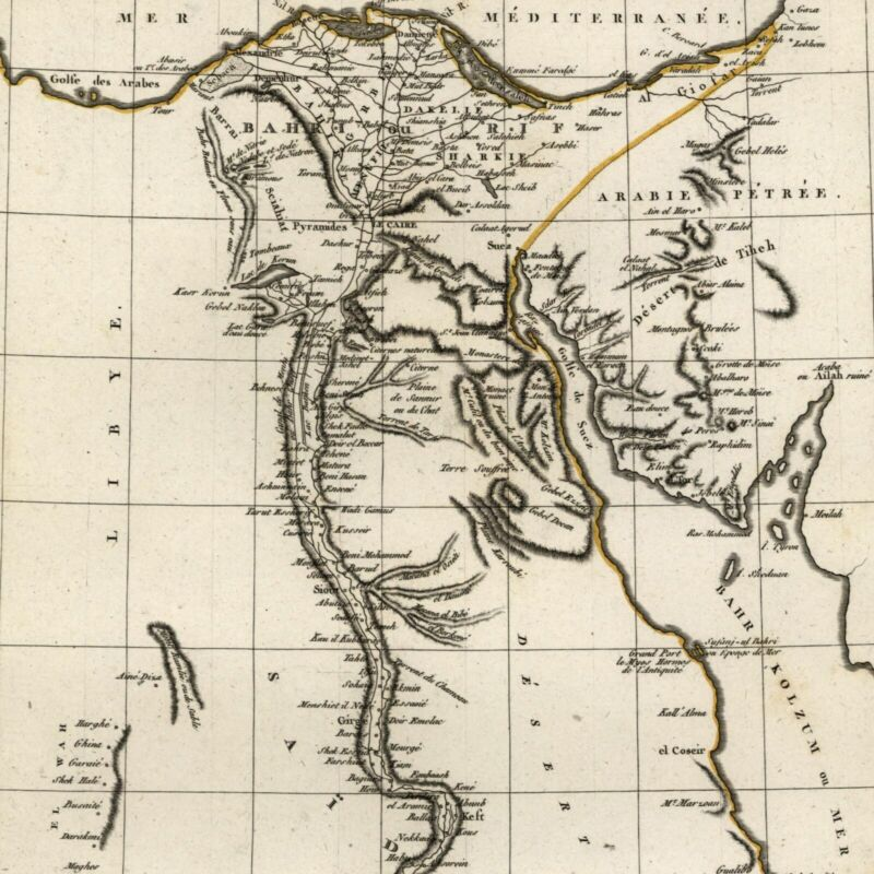 Egypt North Africa Nile Red Sea 1804 Tardieu scarce map