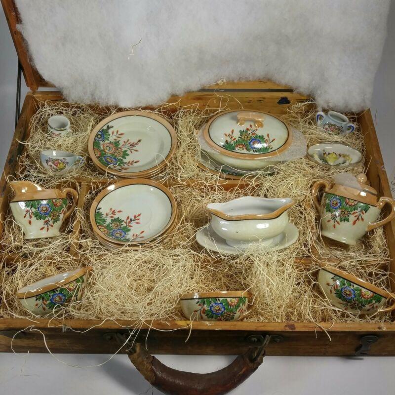 Lot of 20 Vintage Japan Child Tea Set Dishes Lusterware childeren set heirloom