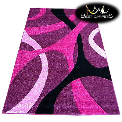 Cheap Purple Carpet (THICK MODERN RUGS 'PILLY' CARPETS ORIGINAL PURPLE LINES ABSTRACT CHEAP)