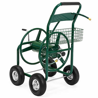 BCP 300ft Water Hose Reel Cart Gardening Accessory Tool w/ Basket - Green