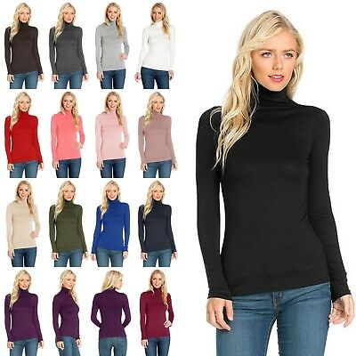 US SELLER Women's Long Sleeve TURTLE NECK Top Soft Stretchy Rayon Spandex T10073 (TOP Seller)