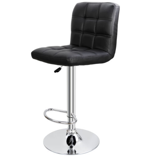 Set of 2 Modern Square PU Leather Adjustable Bar Stools with Back Swivel Stool Benches, Stools & Bar Stools
