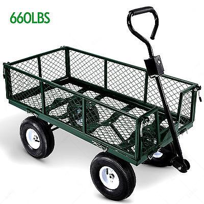 Heavy Duty Steel Wagon Cart Garden Dump Lawn Utility Trailer Yard 660LB