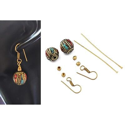 Turquoise Coral Brass Earring Kit Surgical Brass Ear Wire Handmade DIYA08